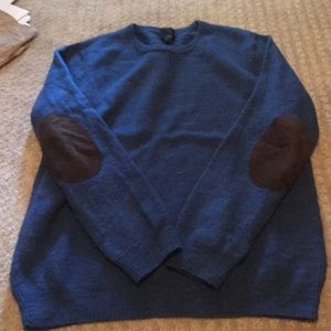 Slim Fit Merino Wool Sweater with Elbow Patches